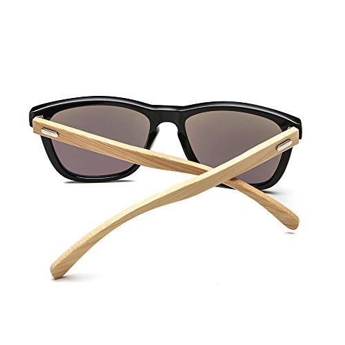 SUERTREE Fashion Bamboo Sunglasses Women Men Ladies Vintage Square Sun Glasses Retro Black Frame Green Mirror JH8002