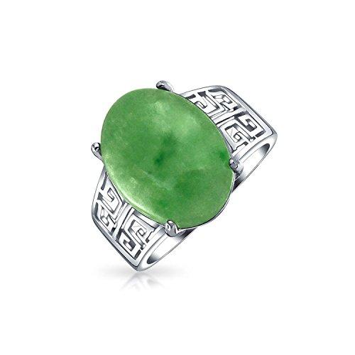 Boho Oval Grün Jade Griechische Schlüssel Filigrane Erklärung Band Ring Für Damen Sterlingsilber August Birthstone