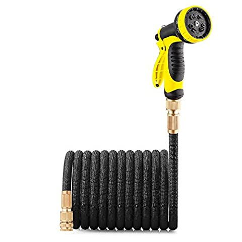GroHoze Expandable Solid Brass Connector Garden Hose with 10 Pattern Spray Gun - 100FT(30M) Black