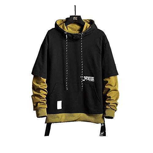 Itisme felpa con cappuccio uomo giuntura falsi due pezzi stampa di lettere hoodie uomo taglie forti stile coreano hip hop felpe con zip uomo invernali tumblr sweatshirt uomo
