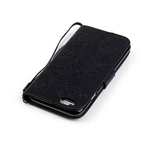 iPhone Case Cover Peint de couleur diamant motif Wallet Style Case Magnétique Design Flip Folio cuir PU couverture Housse de standup pour IPhone 6S Plus 5.5 pouces ( Color : Rose , Size : IPhone 6S Pl Black