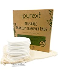 PureXT 16 Eco-Friendly Bamboo Fibre Reusable Makeup Remover Cotton Pads with FREE Natural Cotton Bag