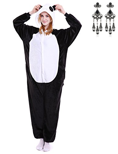 MODETREND Erwachsene und Kinder Jumpsuit Tier Unisex Kostüm Schlafanzug Cosplay Karneval Pyjama Overall Hausanzug Sleepsuit Panda M