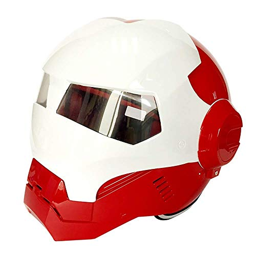 Motorrad Persönlichkeit Helm Iron Man Integralhelm D.O.T Zertifiziertes Straßenrennen Modular Flip Fronthelm Erwachsene Jugend (Size : X-Large)