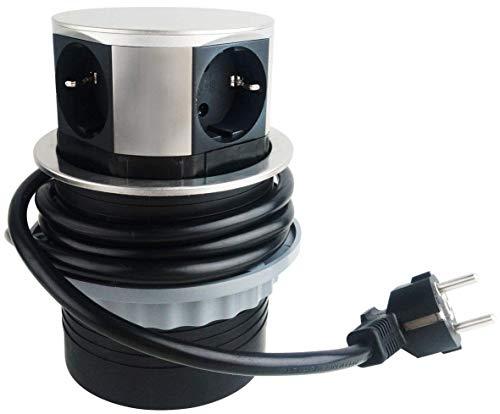 ChiliTec Regleta Enchufe para Escritorio y encimera 230V con Cable de conexión