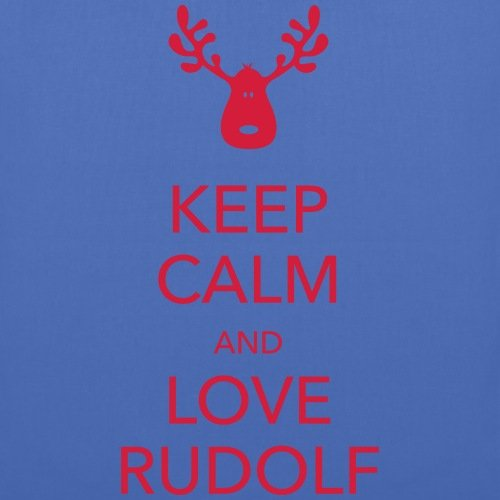 Spreadshirt Keep Calm Love Rudolf Rentier Stoffbeutel Hellblau
