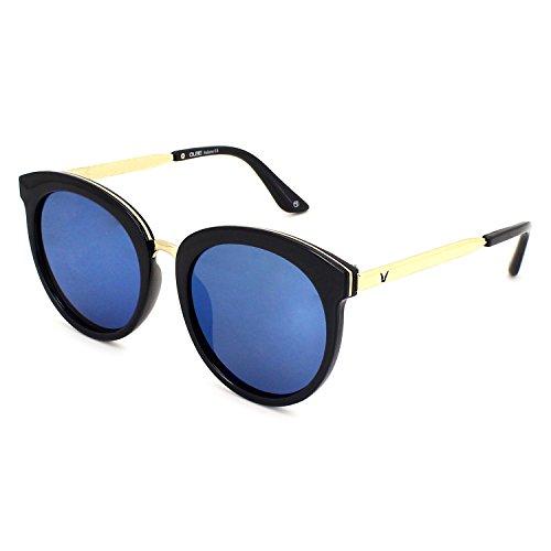 QUBE Women Round Sunglasses (Black Gold)