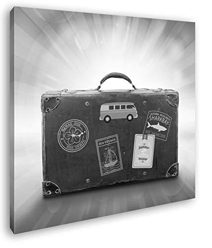 deyoli Reisekoffer aus Leder Format: 40x40 Effekt: Schwarz&Weiß als Leinwandbild, Motiv auf Echtholzrahmen, Hochwertiger Digitaldruck mit Rahmen, Kein Poster oder Plakat