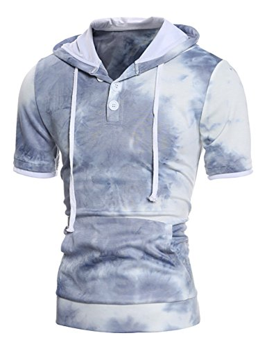 thinkmax-mens-short-sleeve-hoodie-plain-cotton-lightweight-hoodie-shirts-blue-xl