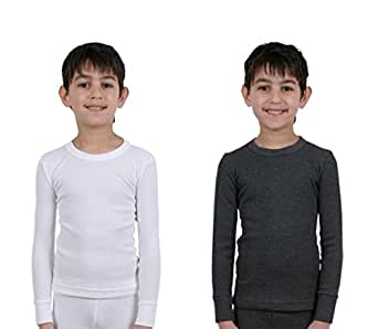 Set Of 2 Boys Thermal Underwear Long Sleeve Vest 1 White & 1 Charcoal, 2/3