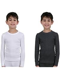 Lot de 2 sous-vêtements thermosensibles pour garçons, 1 T-shirt blanc manches longues et 1 charbon, tailles variées