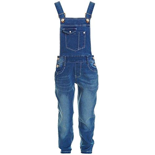 Mädchen Latz Hose Jeans Overall Röhre Kinder Super Skinny Fit Stretch 21359, Farbe:Blau;Größe:104