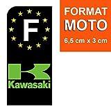 DECO-IDEES 1 Sticker pour Plaque d'immatriculation Moto, Kawasaki Noir - Stickers Garanti 5 Ans - Nos Stickers sont recouvert d'un pelliculage de Protection spécifique