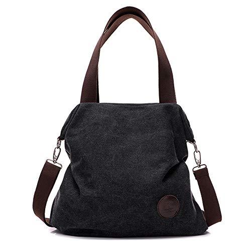 Valleycomfy Damen Taschen Handtaschen Segeltuch Umhängetasche Schultasche Bowlingtaschen Henkeltaschen Shopper(Schwarz)