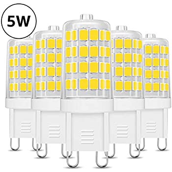 LVWIT Bombillas LED G9-4.5W equivalente a 50W, 500 lúmenes, Color ...