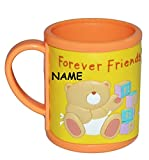 Unbekannt Trinktasse mit Henkel - 3-D Relief - Teddy Forever Friends Incl. Namen - Kunststoff / Plastik - Tasse Becher Plastiktasse Tassen - für Kinder Mädchen Jungen Baby Bär