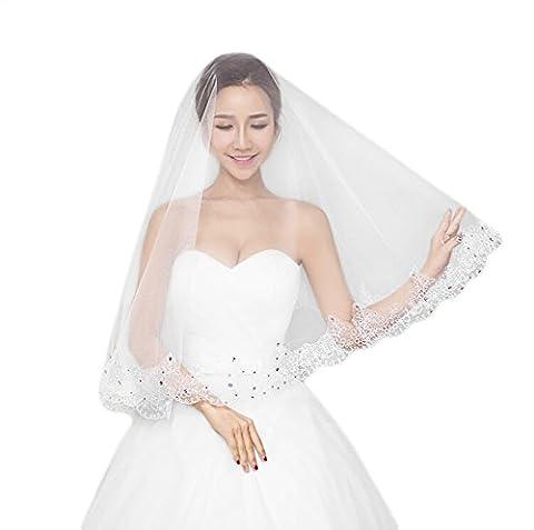 JUNGEN Brautschleier für Hochzeit mit Strass Dekoration Hochzeit bevorzugt Wedding Veil 1,5 Meter