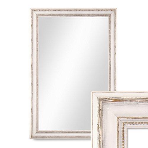 Wand-Spiegel 50x60 cm im Massivholz-Rahmen Landhaus-Stil Weiss  Spiegelfläche 40x50 cm
