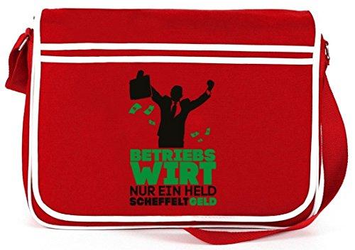 Lustige Retro Messenger Bag Umhängetasche mit Betriebswirt - nur ein Held scheffelt Geld Rot
