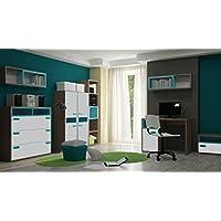 Jugendzimmer Komplett - Set A Michael, 8-teilig, Farbe: Eiche Braun / Grau / Blau preisvergleich bei kinderzimmerdekopreise.eu