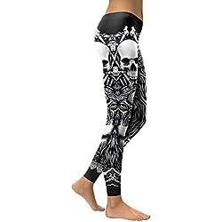 YUJIAKU Leggings Cabeza de Calavera 3D Leggins para Mujer Chica León Impreso Entrenamiento Legging Pantalones elásticos Delgados Legins