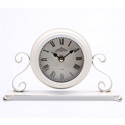 Dannto Standuhr Vintage Dekorative Shabby Antique Runde Tischuhr römische Zahl Metall für Wohnzimmer (Weiß-A)