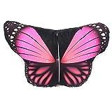 WOZOW Damen Schmetterling Kostüm Fasching Schals Nymphe Pixie Poncho Umhang für Party Cosplay Karneval Fasching (Heißes Rosa 1)