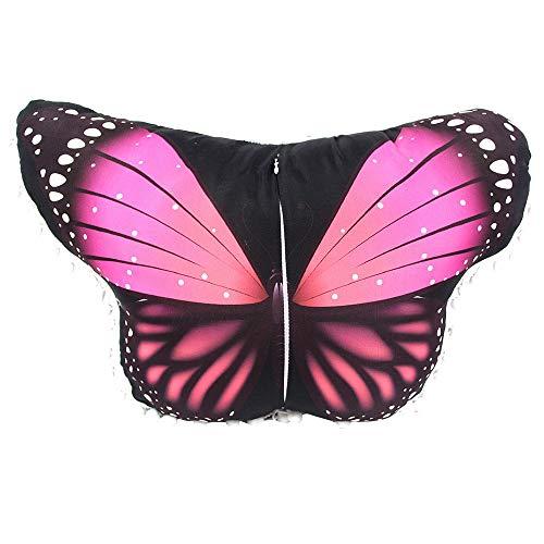 (WOZOW Damen Schmetterling Kostüm Fasching Schals Nymphe Pixie Poncho Umhang für Party Cosplay Karneval Fasching (Heißes Rosa 1))