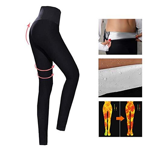 Pantaloni sauna donne yoga fitness, pantaloni dimagranti da donna, hot shaper pantaloni dimagrante in neoprene termico (l)