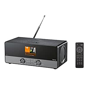 Hama DIR3100  digital internet radio with USB connection charging and replay function, wake-up and Wi-Fi streaming functions, multi-room, free radio app - black