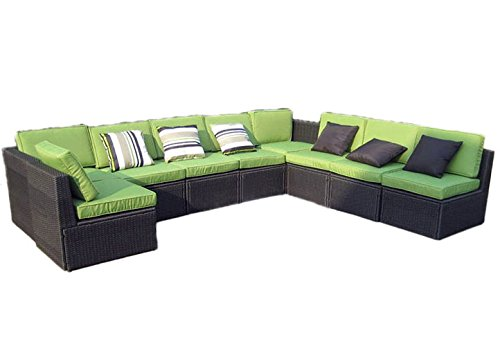 Nexos Edle Sitzgarnitur – Polster grün/Poly Rattan schwarz – Stahlgestell – Sitzgruppe...
