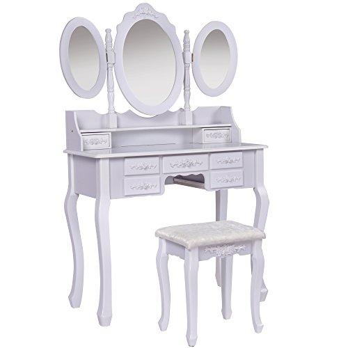 Jalano Schminktisch Milano weiß Frisiertisch Set Schminkkommode mit Spiegel schwenkbar inkl Hocker