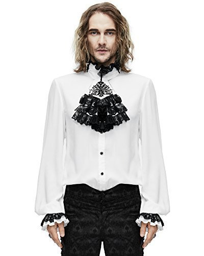 Devil Fashion Mens-Gotik Hemd & Krawatte weiß Steampunk Aristocrat Regentschaft - Weiß, X-Large