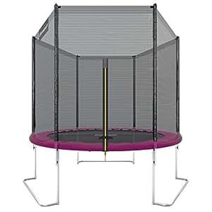Ultrasport Trampoline de jardin Jumper, set complet pour trampoline avec tapis de saut, filet de sécurité, barres du filet rembourrées et revêtement pour les bords, 180 cm, Pink