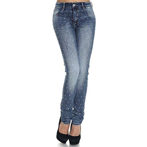 Itaimaska Damen Übergrößen Stretch Jeans Hose Röhren Zerrissene Hosen 21321, Hosengröße:44;Farbe:Blau