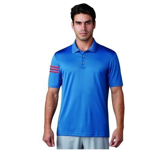 Herren Climacool Polo Golf Shirts (adidas Golf Climacool 3 Stripes Club Crestable Shirt Polo-Shirt, Herren XS blau)