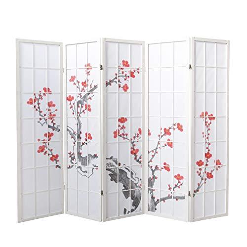 Homestyle4u 278, Paravent Raumteiler 5 Teilig, Holz Weiss, Reispapier Weiß Kirschblüten Motiv