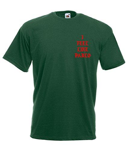 TRVPPY Herren T-Shirt I FEEL LIKE PABLO in vielen versch. Farben mit Rücken -und Brustaufdruck, Gr. S-5XL Weiß-Flaschengrün