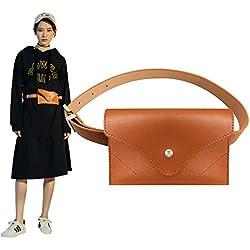 Famhome Riñonera de cuero, bolsa de cintura de cintura extraíble de viaje bolsa de teléfono celular Grandes Marrón