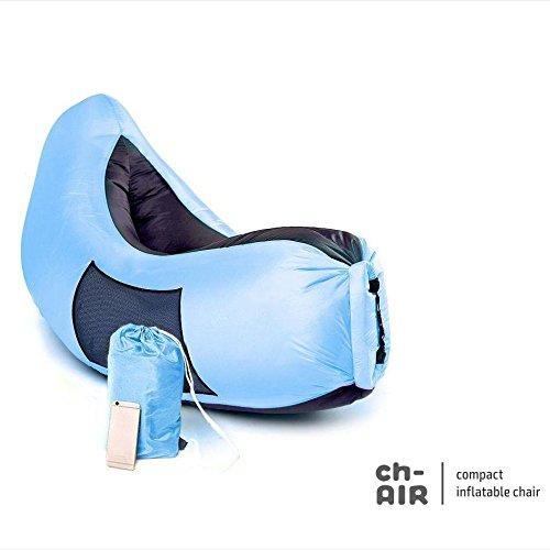 Aufblasbare Hängematte Air Bag Lounge Chair! Sofa für Innen-oder Außenbereich Inflates In Sekunden! Tragen Sie Beutel eingeschlossen! Wasserdichte Lounger Luftmatratze für Camping Picnics Beach & Music Festivals! (Blue/Grey)