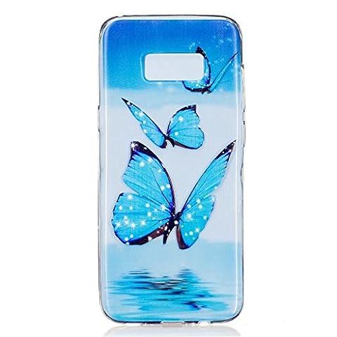 MUTOUREN TPU coque pour Samsung Galaxy S8 Plus silicone transparent Crystal cover case protection Anti-poussière housse etui Anti-shock case étanche Résistante Très Légère Ultra Slim cas Soft bumper doux Couverture Anti Scratch-papillon bleu