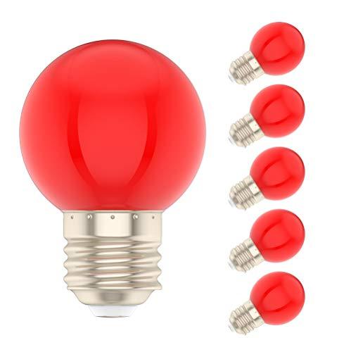 5X E27 Rot Color LED 1W Bunte Glühbirnen 100LM Bunte LED Lampen Äquivalent zu 10W Halogen AC220V-240V