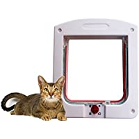 Puerta de plástico para mascotas Puerta de perros de aleta de gato Perro de perros Puerta Puerta de gato para mascotas Blanco