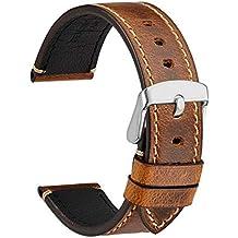 WOCCI 18mm Bracelet Montre Cuir Vintage avec Boucle argentée, ... 5749e0d14c4