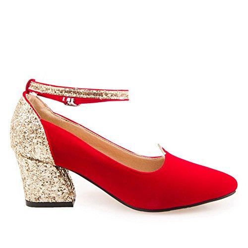 VogueZone009 Donna Finta Pelle Scamosciata Fibbia Scarpe A Punta Tacco Medio Colore Assortito Ballerine Rosso