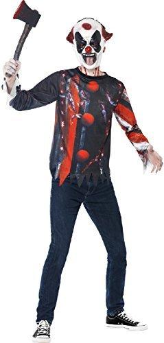 Clown Latex Maske Alte (Teen &ältere Jungen Horror Zirkus Clown + Maske Latex Halloween Horror TV Buch Film Kostüm Kleid Outfit Satz 12 Jahre)