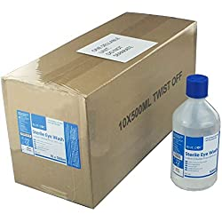 Crest Medical 500ml Lavaojos Estéril Solución Salina 10 X 500ml Botellas