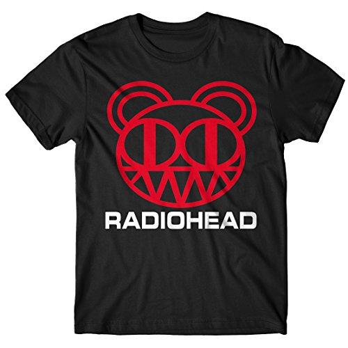 Herren-T-Shirt - Radiohead Bear Logo T-Shirt 100% Baumwolle LaMAGLIERIA Schwarz