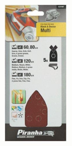 Piranha Multischleifpapier-Set, Körnung (1 x 60/80/180; 2 x 120, Black+Decker Multi, Klett-Fix) 5 Stück, X31467 Multi Klett