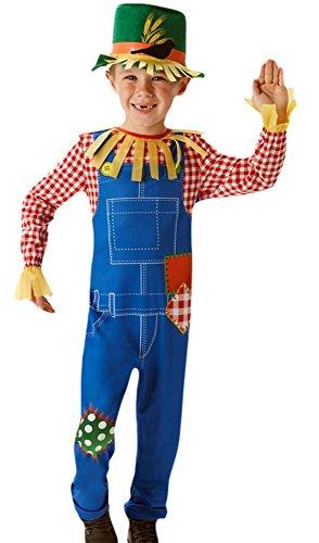 erdbeerloft - Jungen Karneval Kostüm Anzug Mr. Scarecrow , Mehrfarbig, Größe 110-116, 5-6 (Gartenzwerg Kostüm Mädchen)